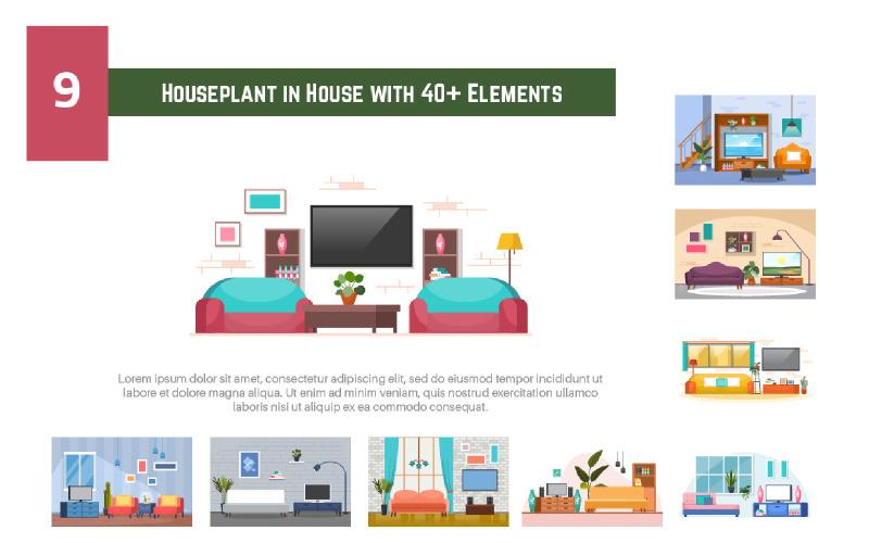 9 Zimmerpflanze im Haus mit mehr als 40 Elementen - Abbildung