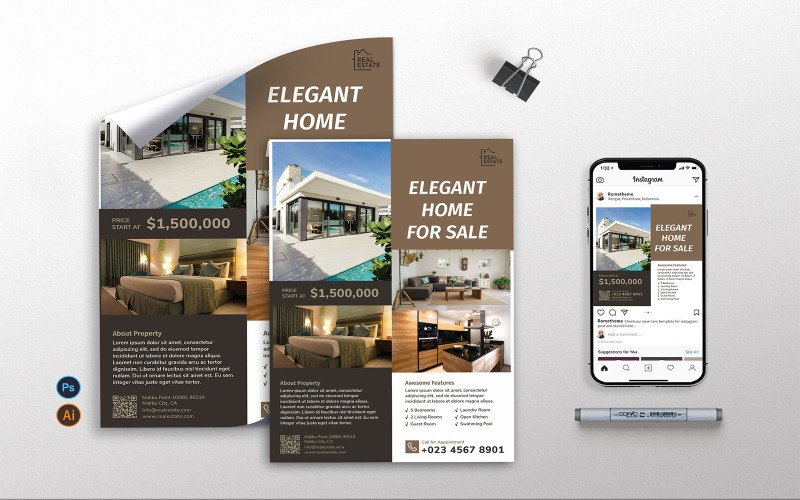 Real Estate Vol.2 - Flyer, Poster, Instagram Post RB Corporate Identity