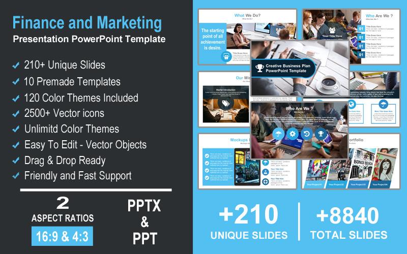 Presentatie van financiën en marketing PowerPoint-sjabloon