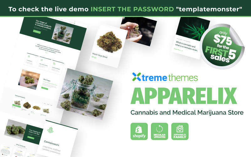 Apparelix Cannabis and Medical Marijuana Store Shopify Theme