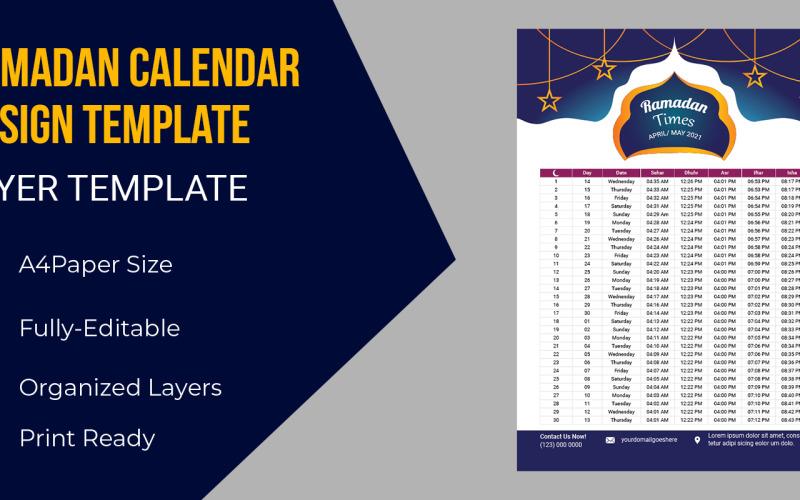 Ramadan Kareem Month 2021 Calendar English Dates & Time Corporate Identity