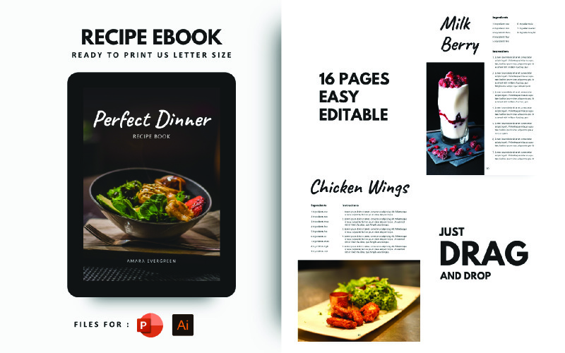 Perfect Dinner Recipes eBook PowerPoint  Template