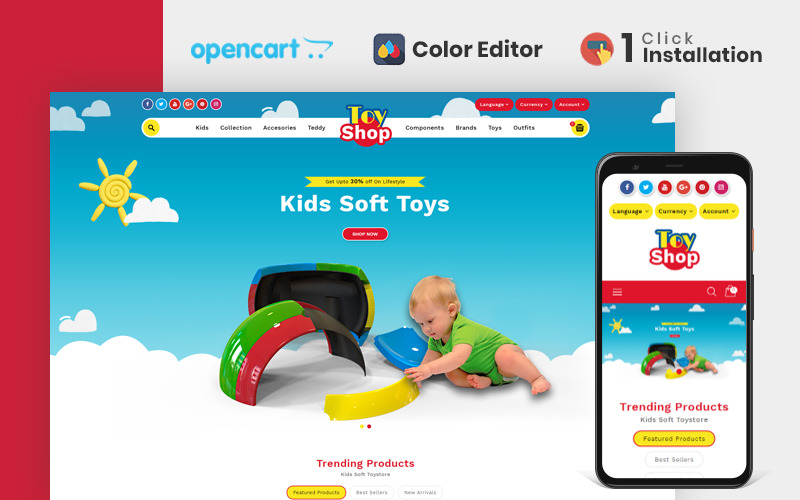 Toytown Kids Store OpenCart téma