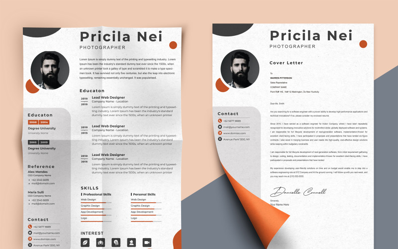 Pricila Nei - modelli di curriculum stampabili per fotografi professionisti