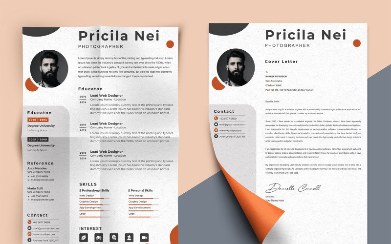 Pricila Nei - professional Photographer Printable Resume Templates