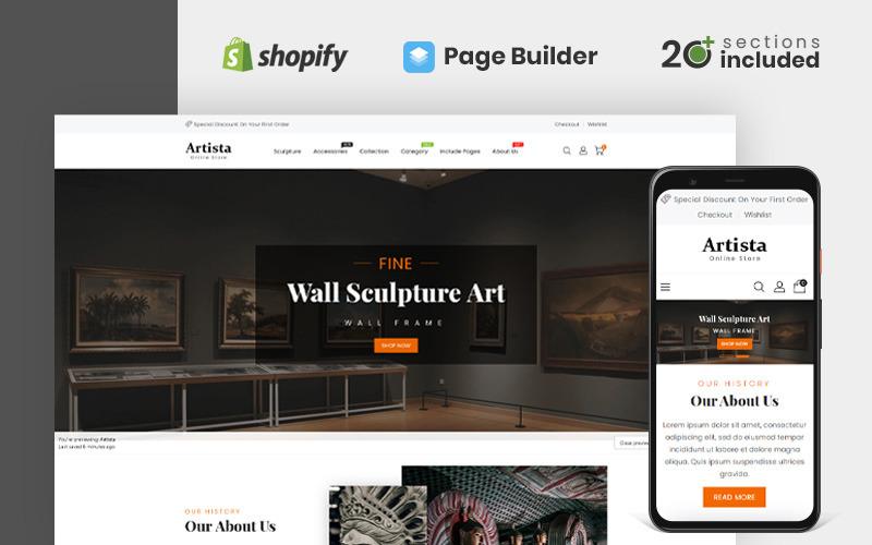 Artista - Tema Shopify del negozio della galleria d'arte