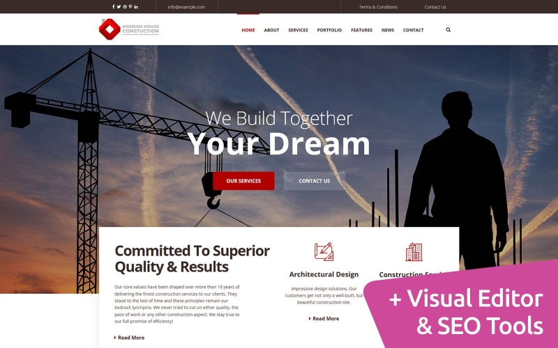 Технічне обслуговування дому Шаблон веб-сайту Moto CMS 3