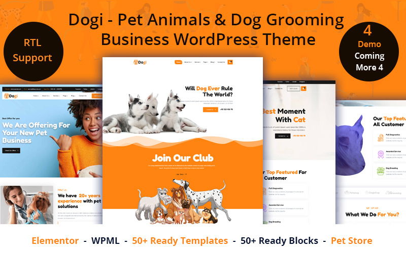Dogi - Pet Animals & Dog Grooming Business WordPress Theme