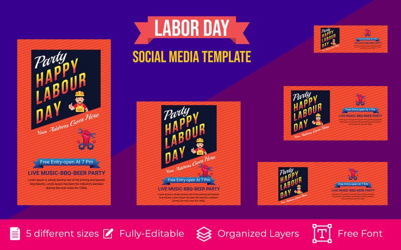 Happy Labor Day Social Media Banner Background Design