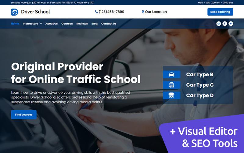Инструктор по вождению Премиум MotoCMS 3 Дизайн веб-сайта