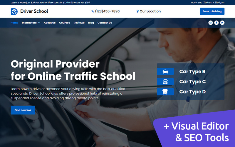 Istruttore di guida Premium MotoCMS 3 Website Design