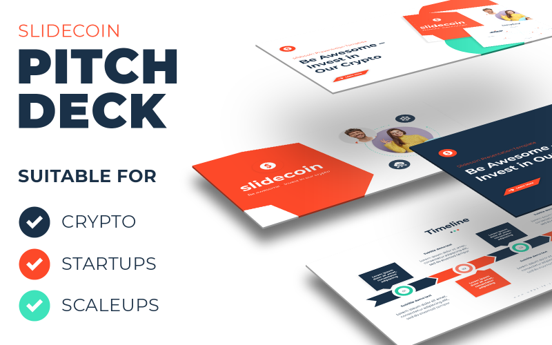 Slidecoin - Pitch Deck template for Crypto, Startups and Scaleups - PowerPoint