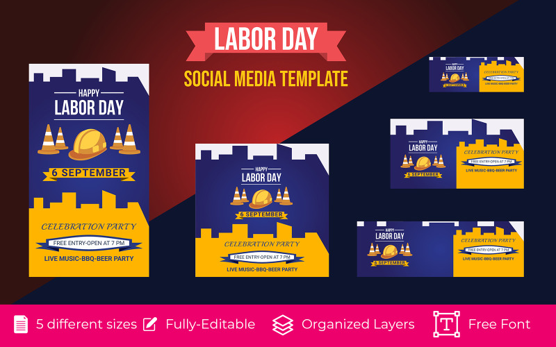Website Labor Day Holiday Vector Text for Social Media