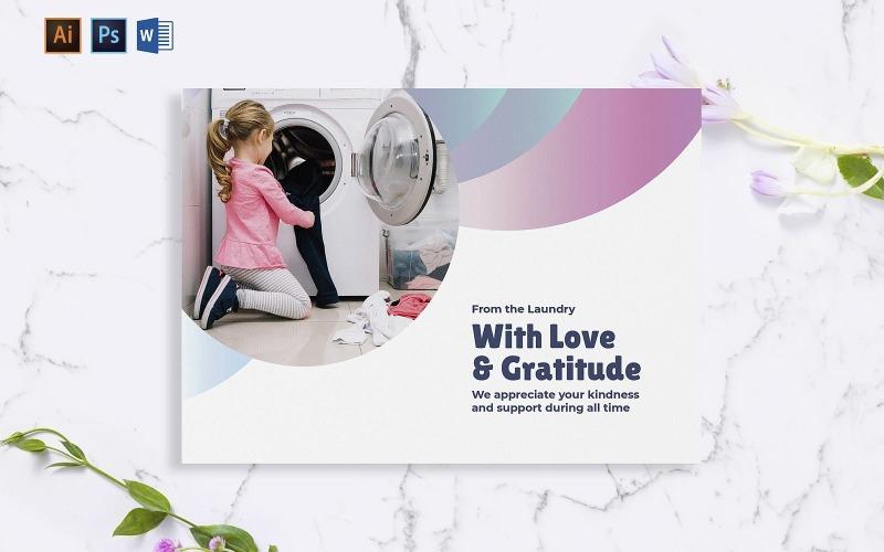 Modelo de identidade corporativa de cartão criativo para lavanderia