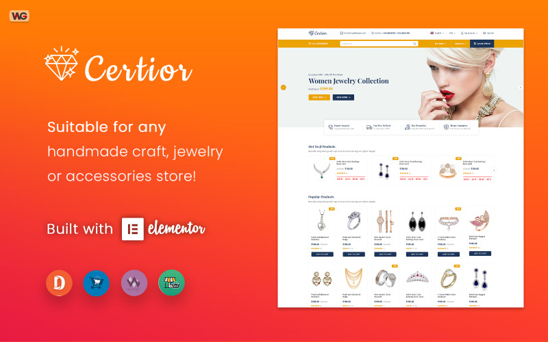 Certior - Tema para WooCommerce de Elementor para joyería
