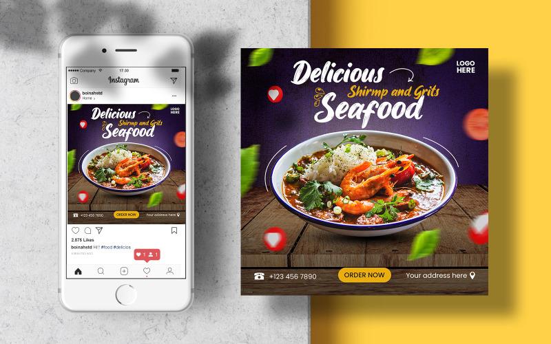 Delicious Seafood Instagram Post Menu. Social Media Template Banner