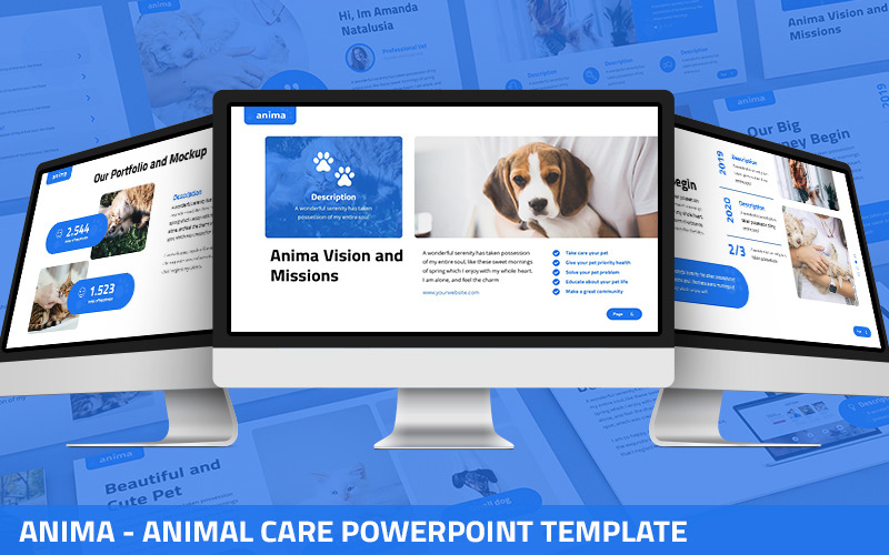Anima - modelo de PowerPoint de cuidados com animais