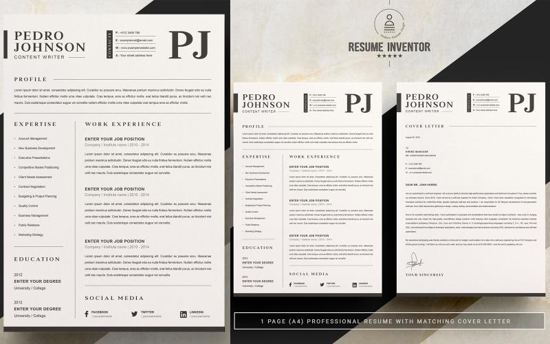 Шаблоны резюме для печати Pedro