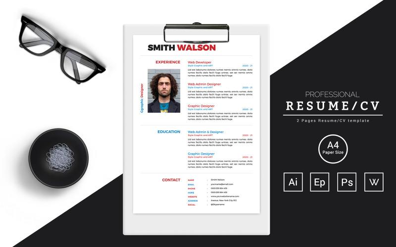 Smith Walson - CV-design för en kreativ direktör Utskrivbara CV-mallar