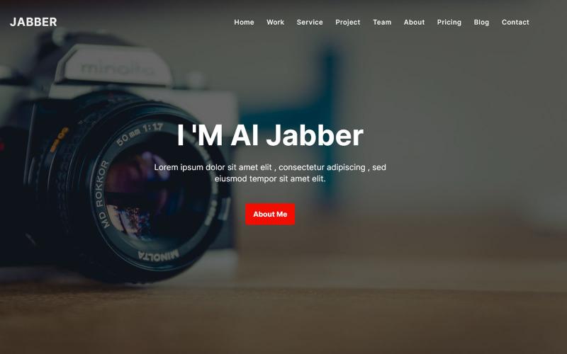 Al Jabber - Modello di pagina di destinazione del fotografo di portfolio moderno