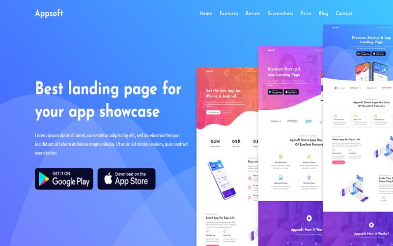 Appsoft - Modello di pagina di destinazione dell'app