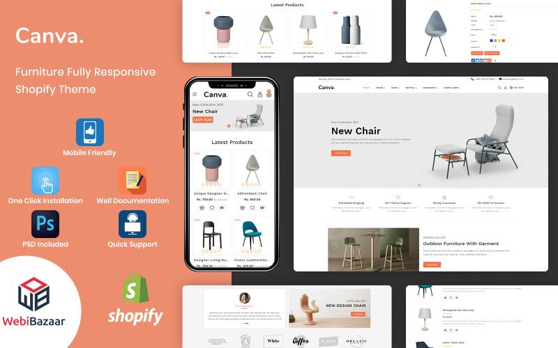 Canva - шаблон Shopify для современной мебели