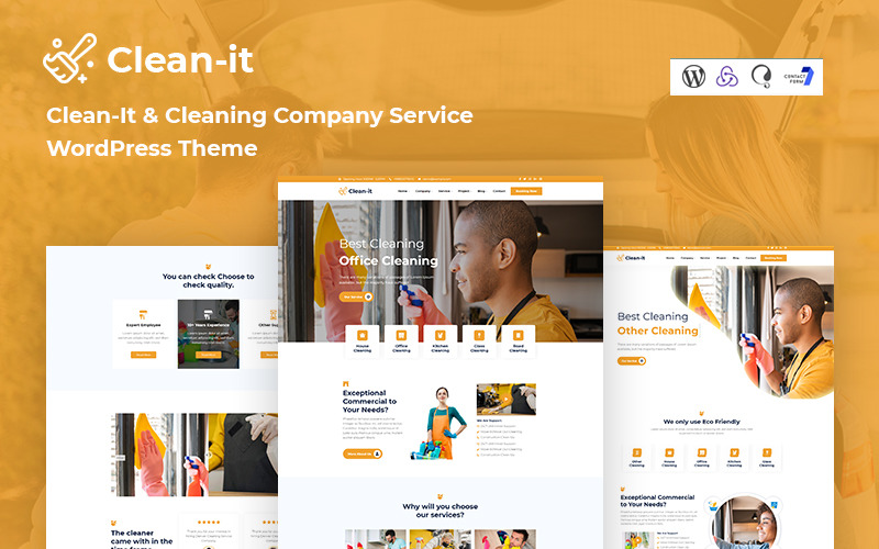 Clean-It  Cleaning Company Service Responsive WordPress Theme