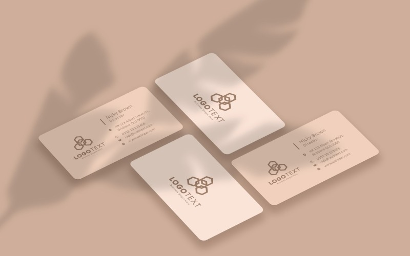 Mockup di collage di biglietti da visita beige con foglie ombra prodotto Mockup