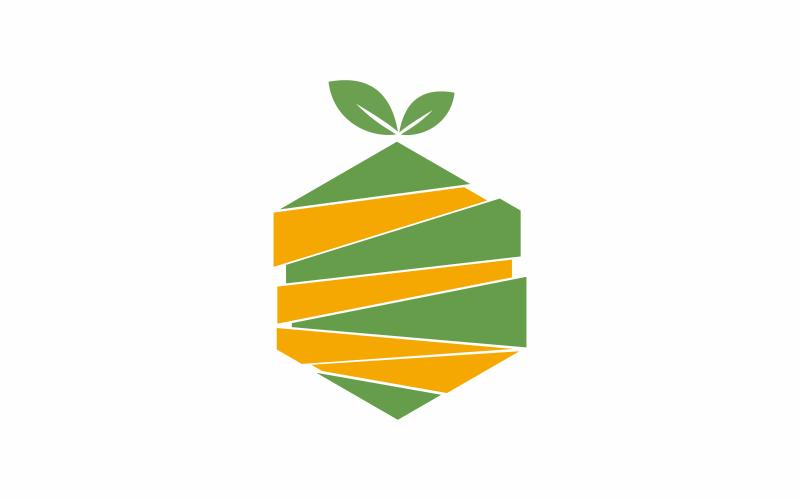Modèle de logo de fruits hexagonaux