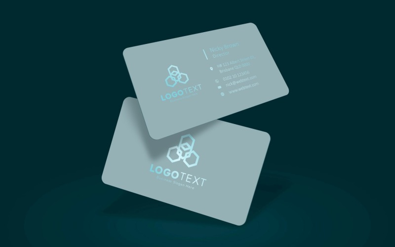 Plastic Business Card Mockup with Reflected Text Product Mockup