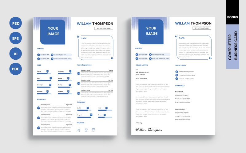 Willam Thompson - Web Developer Clean Özgeçmiş Şablonu