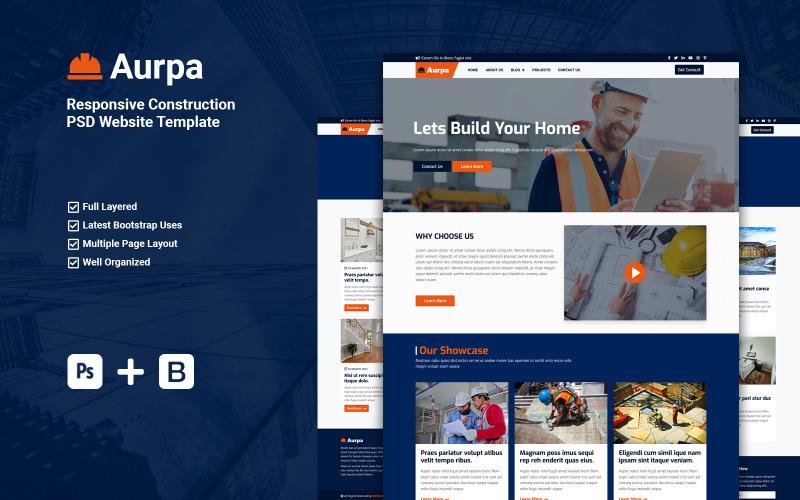 PSD шаблон адаптивного веб-сайта Aurpa