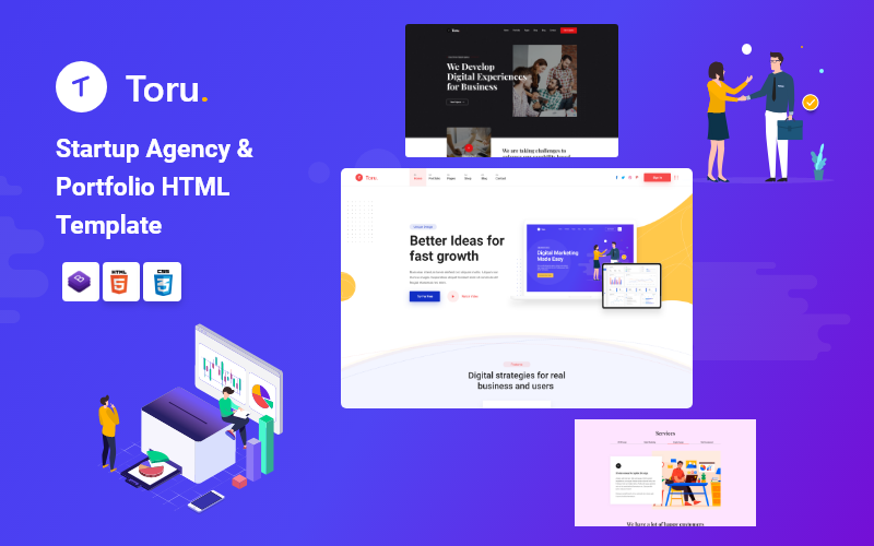 Toru - Многоцелевой шаблон веб-сайта стартап-агентства Saas