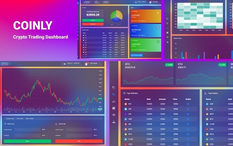 Coinly - Cryptocurrency Exchange Dashboard HTML Template
