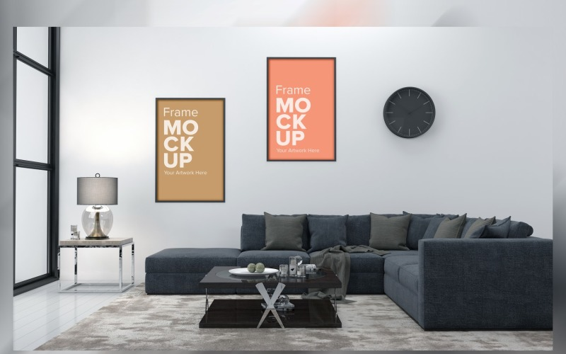 Modern Living Room, Sofa With Cushions And Two Frame Mockup