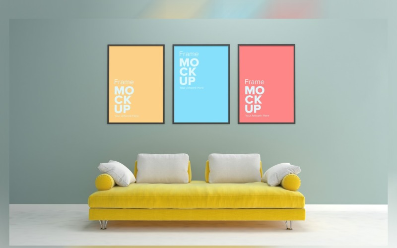 Yellow Luxury Sofa in Living Room With Three Frame Mockup Walls