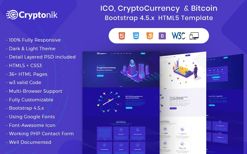 Cryptonik - ICO, Bitcoin i Cryptocurrency Szablon strony internetowej HTML