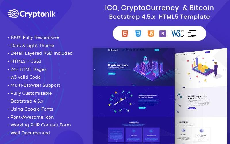 Cryptonik - Modèle de site Web HTML ICO, Bitcoin et Crypto-monnaie