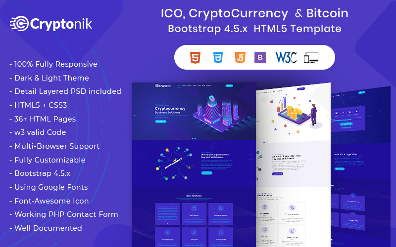 Cryptonik - webbplats för mall för ICO, Bitcoin och Cryptocurrency HTML