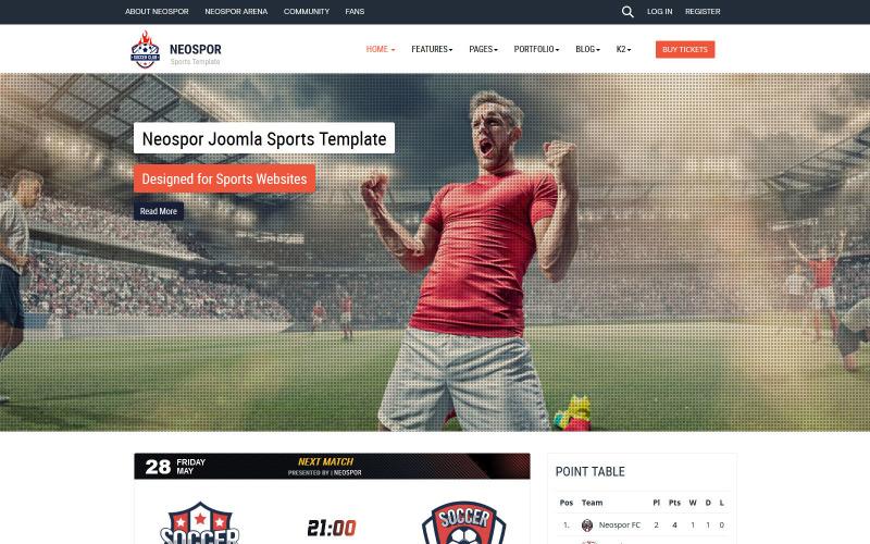 Modèle Neospor Joomla Sport