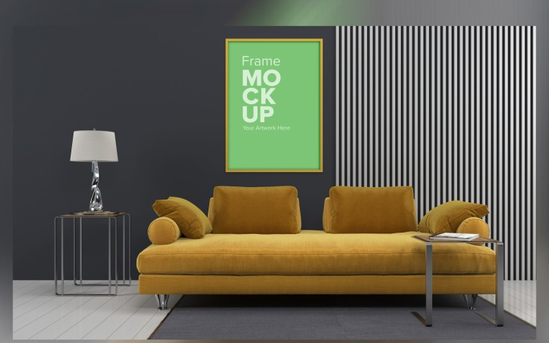 Luxury Sofa With A Coffee Table And Lamps On A Carpet In A Living Room With Walls Frame Mockup