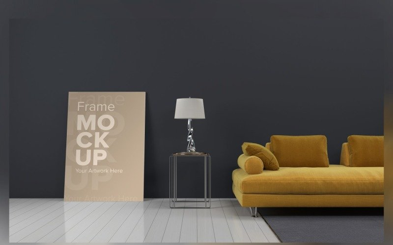Luxury Sofa With A Table And Lamps On A Carpet In A Living Room With Walls Mockup