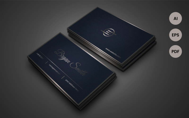 Silver and Blue Business Card  - Corporate Identity Template