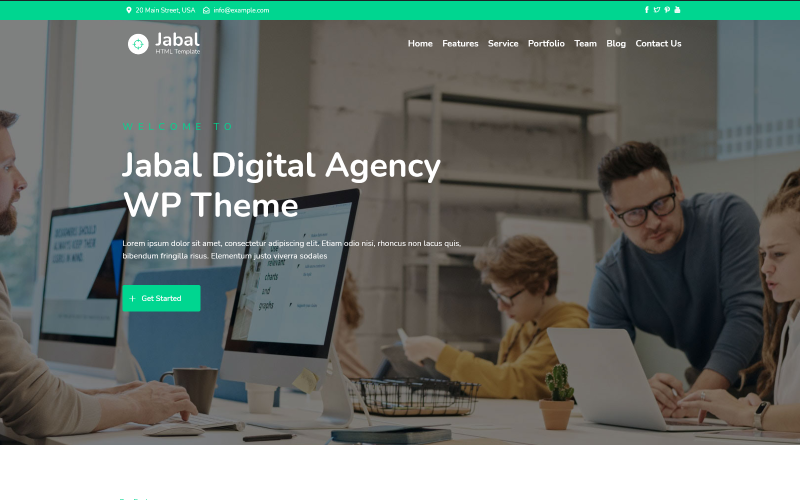 Jabal - Digital Agency One page WordPress Theme
