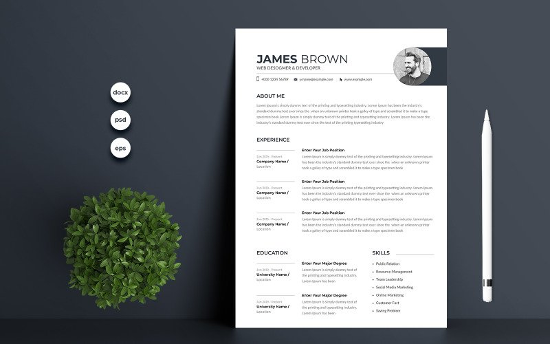 James Brown Premium Resume Template