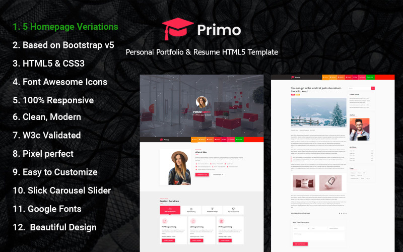Primo - Personal Portfolio & Resume HTML5 Landing Page Template.