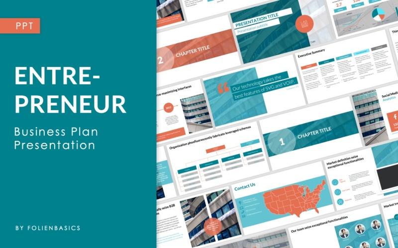 Empreendedor - Modelo de PowerPoint de argumento de venda e plano de negócios