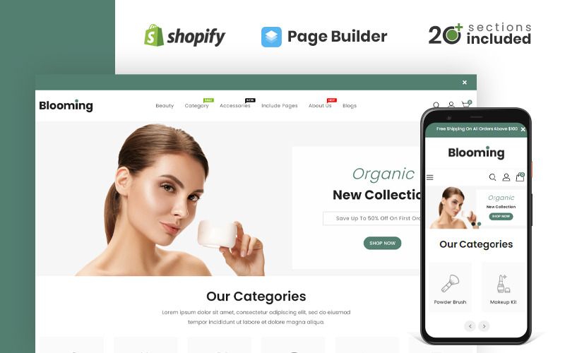 Bloomify Cosmetics Store Shopify-Thema