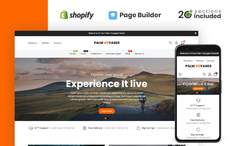 Palm Voyages Travel Store Shopify-Thema