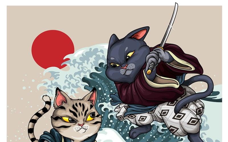 Samurajské kočky kreslený obrázek